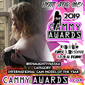 Naughty Natali 2019 cammy Nominee for best international Cam model